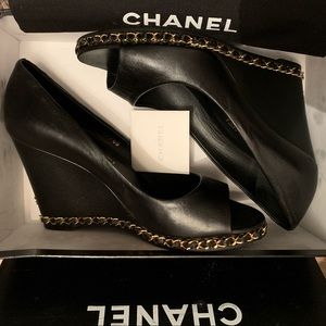 CHANEL Shoes - CHANEL Chain-Link Black Leather Peep toe Wedges